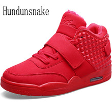 Hundunsnake Winter Sneakers For Men Running Shoes With Fur Sneakers Warm red Krasovki Men Sport Shoes Male Adult Gumshoes T414
