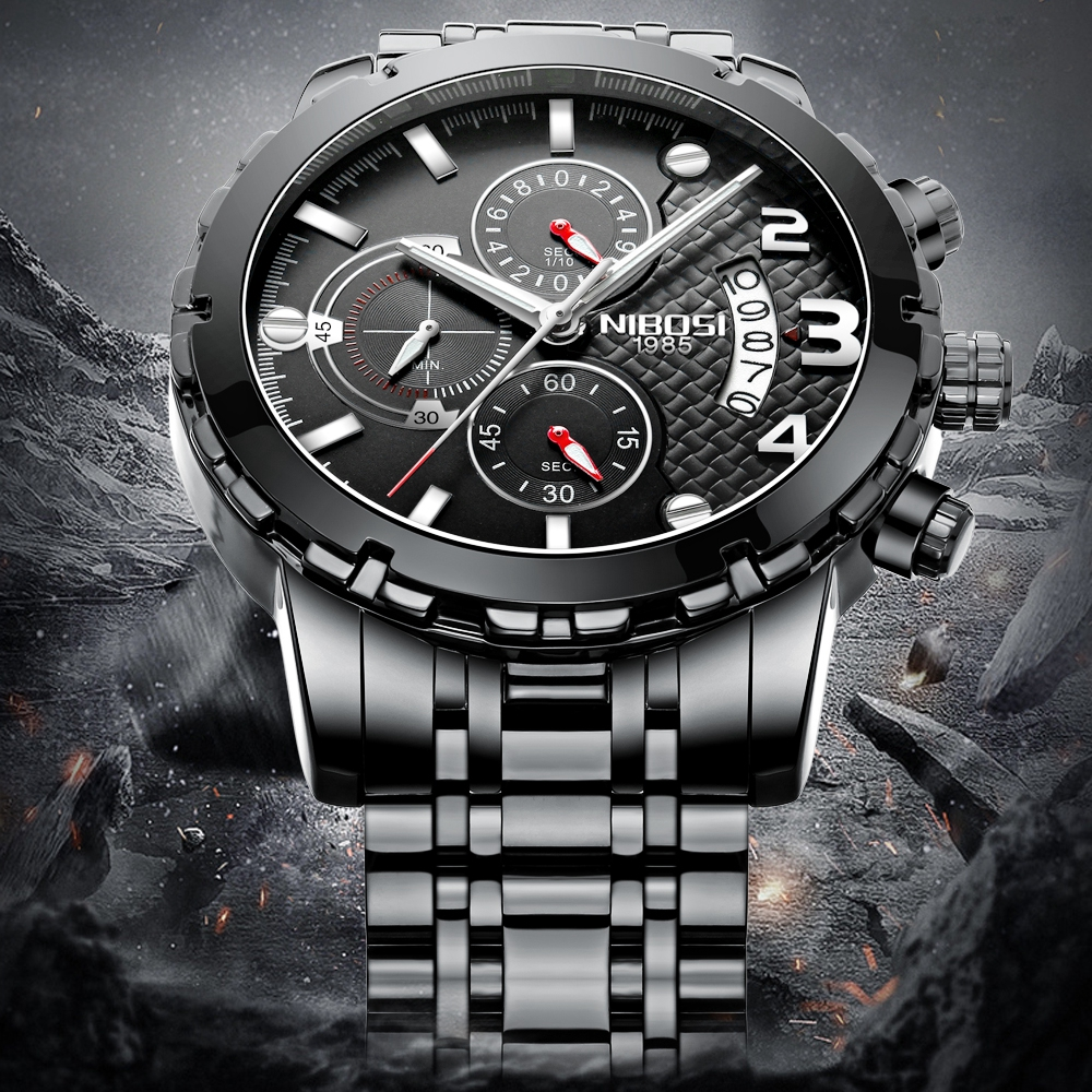 NIBOSI 2018 Quartz Watch Men Waterproof Stainless Steel Timing Luminous Calendar Mens Watches Top Brand luxury Relogio Masculino nibosi top brand business quartz watches men stainless steel band 30m waterproof luminous mens quartz watch male wrist watches