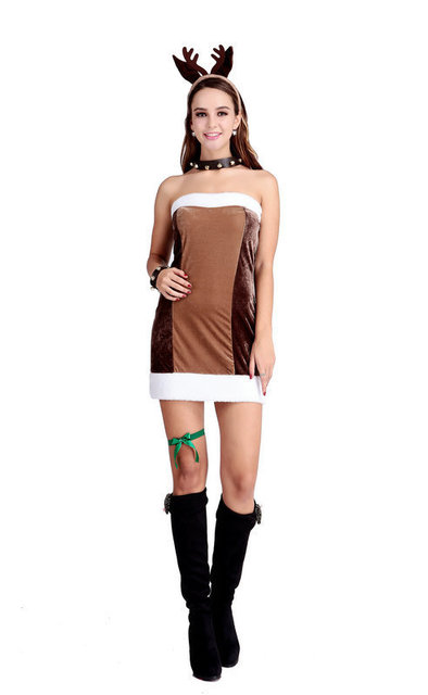 Free shipping Adult Sexy Reindeer Costume Ladies Fever Christmas Fancy Dress Rudolph Outfit  sc 1 st  AliExpress.com & Free shipping Adult Sexy Reindeer Costume Ladies Fever Christmas ...