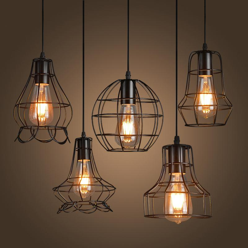 Buy new loft iron pendant light vintage for Suspension luminaire cage