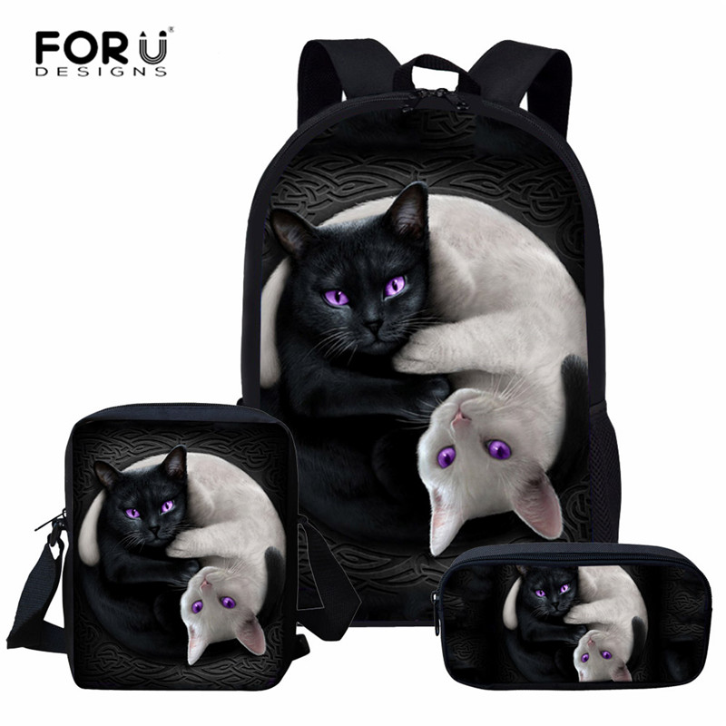 FORUDESIGNS School Bag Set Gothic Moon Black Cat Print Primary Schoolbag Kids 3pcs Backpack Teen Girls Casual Book Bags Satchel
