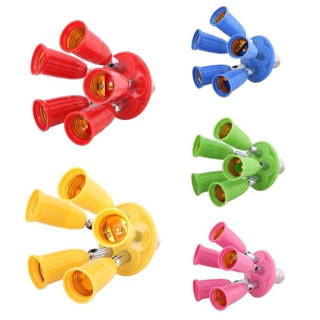 5 in 1 E27 to E27 Adjustable Colorful Base Socket Splitter LED Lamp Holder