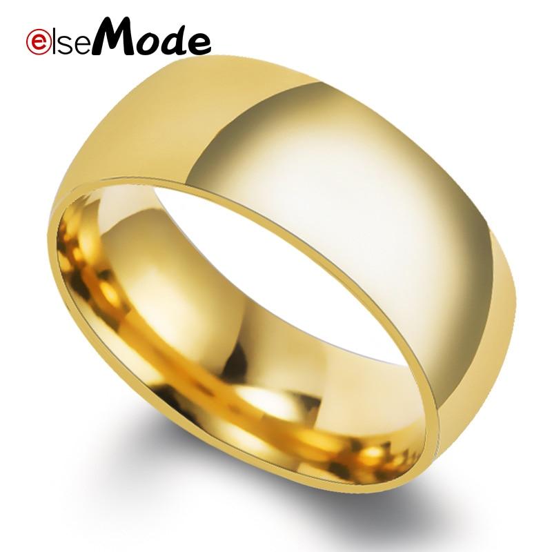 ELSEMODE 8 мм 316L из нержавеющей стали, блестящее полированное кольцо, мужские и женские модные ювелирные изделия, обручальные кольца золотого и ...
