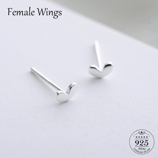 หญิงปีก Simple 925 สเตอร์ลิงเงิน Stud ต่างหูสำหรับผู้หญิงหัวใจน่ารัก Ear Studs ต่างหู Silver Studs หญิงของขวัญ FE87