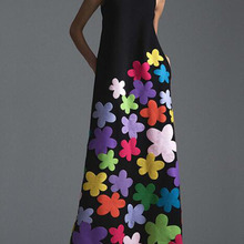 new style bohemian Flower printing long cotton dress o-neck sleeveless big hem women autumn
