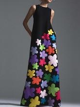 new style bohemian Flower printing long cotton dress o-neck sleeveless big hem women autumn summer elegant casual product