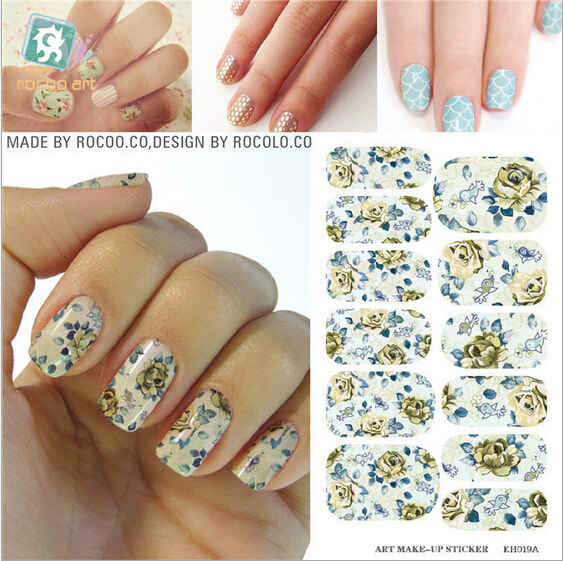 Kpop nail stickers Full fingernail polish sticker accessories art decorated  flower nail tips stickers for manicure