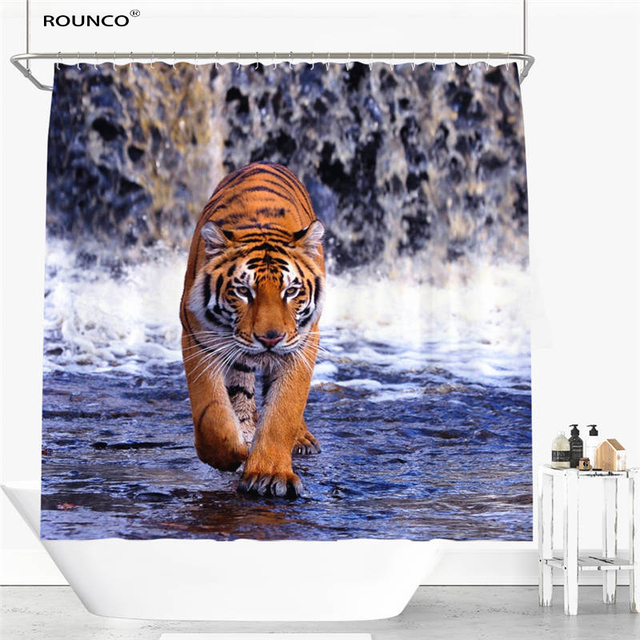 Tiger Dog Horse Fish Shower Curtain Polyester Fabric Bathroom Flexible Pull Style Waterproof 12 Hooks