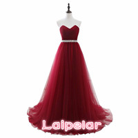 Laipelar Dark Red Dresses Net Pleat Beading Custom Made Lace Up Back Prom Party Gown With