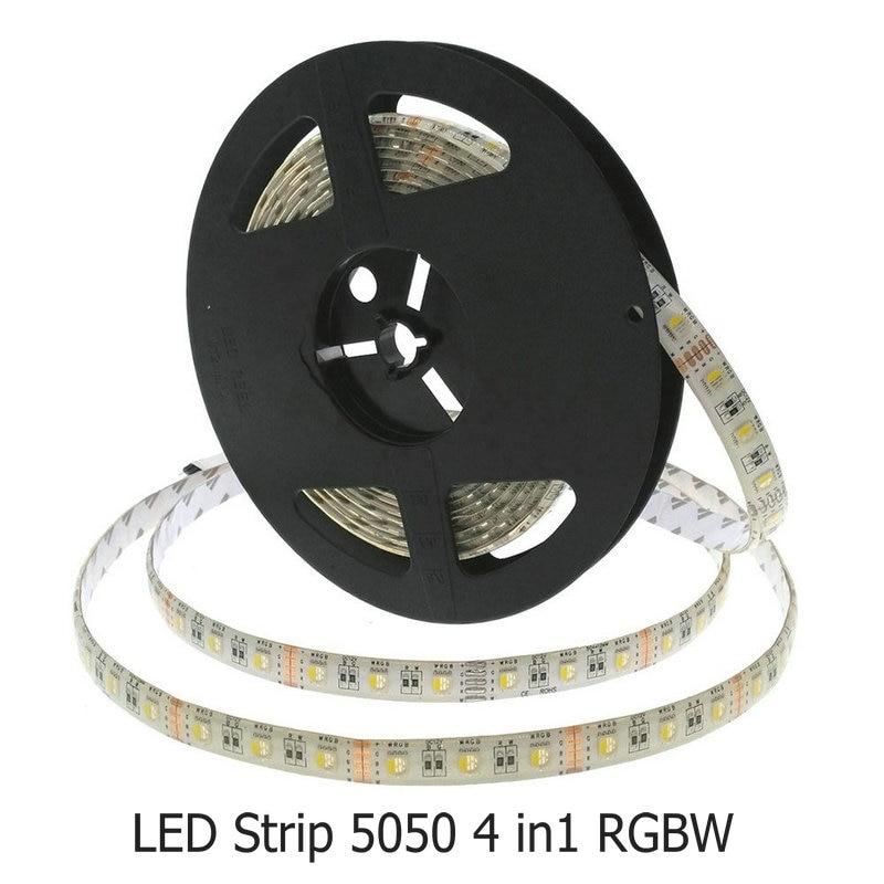 4 em 1 RGBW LED Faixa 5050 RGB + Branco / RGB + Warm White 4 cores em 1 LED Chip 60 LED / m 5 m / lote Flexível Decoração de Casa Iluminação