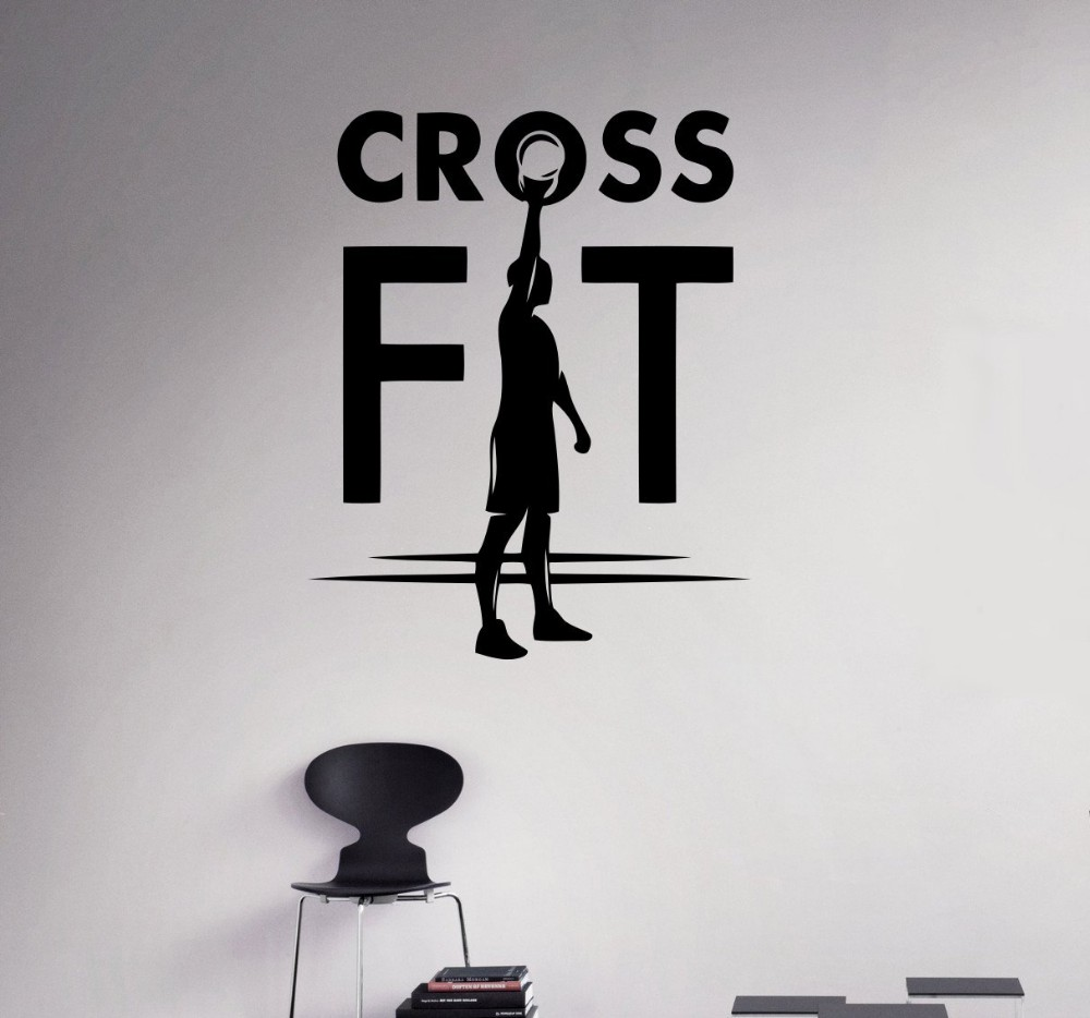 Sticker gym wall - Fitness Cross Gym Fit Wall Decal Workout Vinyl Sticker Healthy Lifestyle Home Interior Wall Murals Housewares