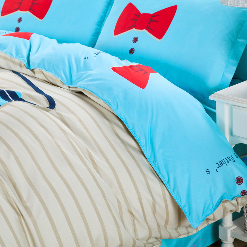 Hundred cotton,Fleece fabrics, Bedding suite four (a quilt cover, sheet, two pillowcases) cartoonI Tie affair leica