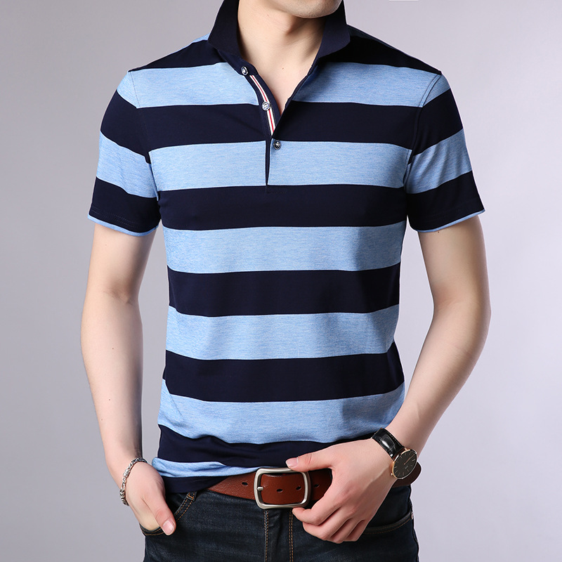 Chinese Style Striped 2019 Brand Fashion   Polo   Shirts Short Sleeve Men Summer Cotton Breathable Tops Tee ASIAN SIZE M-5XL