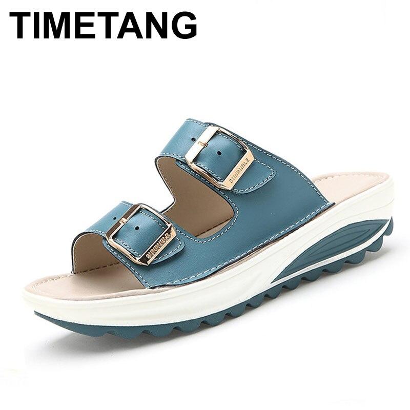 TIMETANG Summer Slippers Women Slides Sandals Genuine Leather Platform Wedges Slippers Open Toe Beach Slides Casual Sandallias цена