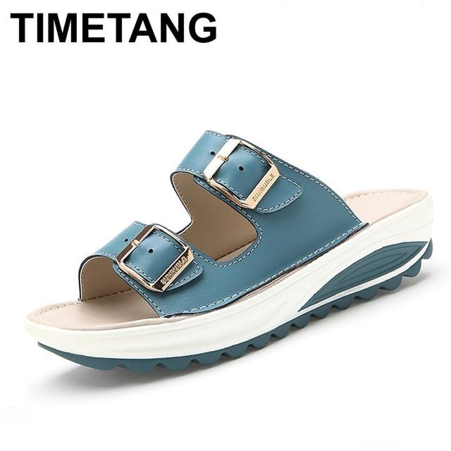 TIMETANG Summer Slippers Women Slides Sandals Genuine Leather Platform Wedges Slippers Open Toe Beach Slides Casual Sandallias