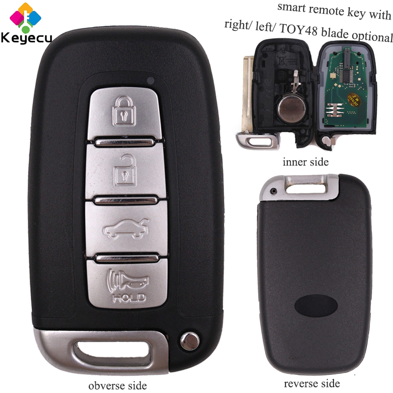 KEYECU Replacement Smart Remote Car Key - 4 Buttons & 433MHz & ID46 Chip & Right/ Left/ TOY48 Blade - FOB for Hyundai I30 IX35.. toy48