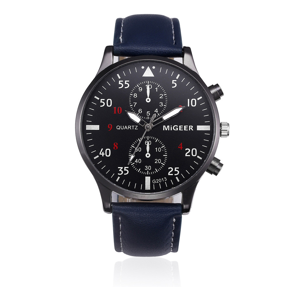 Migeer Men Sport Watch with Blue Leather Band