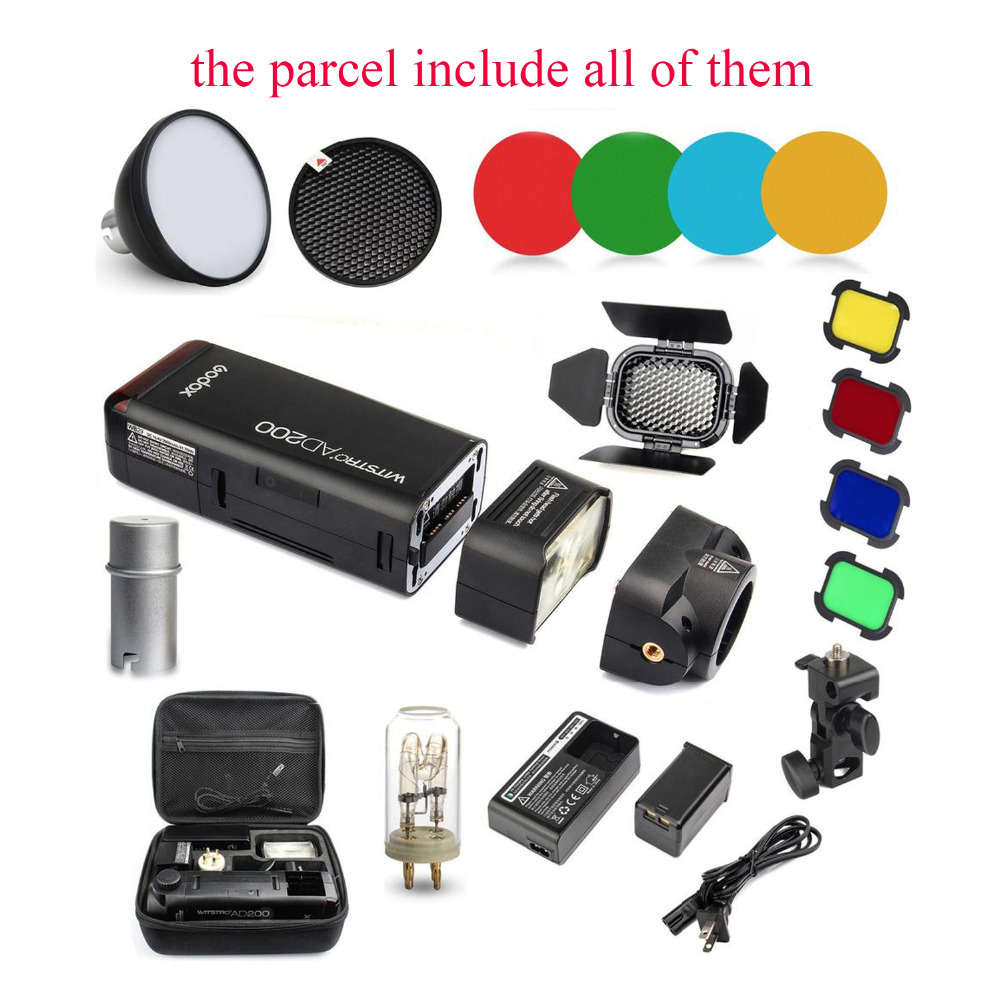 Godox AD200 2.4G TTL Flash 1/8000 HSS Monolight Kits for Nikon Canon Sony+AD-S2 Standard Reflector+AD-S11 Color Filter Gel Pack