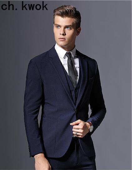 CH. KWOK темно синяя мужская костюмная жилетка брюки портной костюм bespoke темно синие свадебные костюмы мужские смокинги жениха Мужские деловые