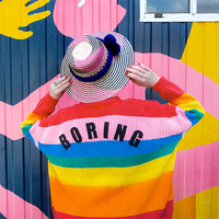 Lazy Oaf Rainbow Cardigan 2018 Autumn and Winter Women Colorful Striped Oversized Sweater Embroidery Letter BORING Jacket Coat