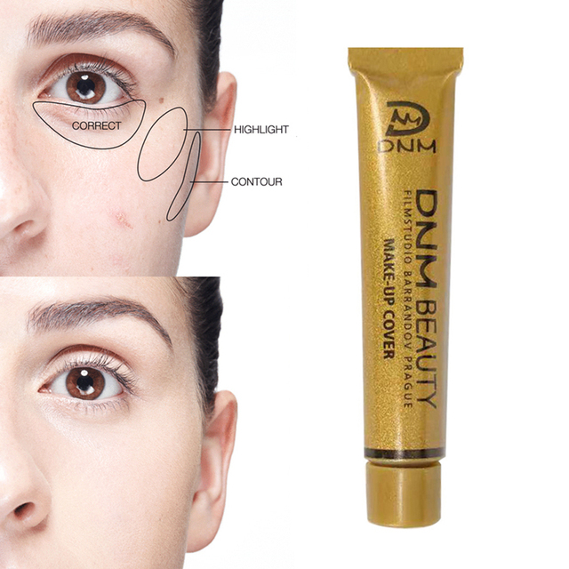 DNM Waterproof Make Up Concealer Dark circles Foundation Cream Liquid Lasting Small Gold Tube Contouring Makeup maquiagem TSLM2 4