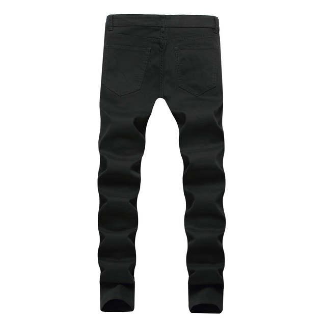 92a0d4add68 Online Shop Dropshipping Red White Black Ripped Denim Pant Knee Hole Zipper Biker  Jeans Men Women Slim Fit Skinny Destroyed Torn Jean Pants
