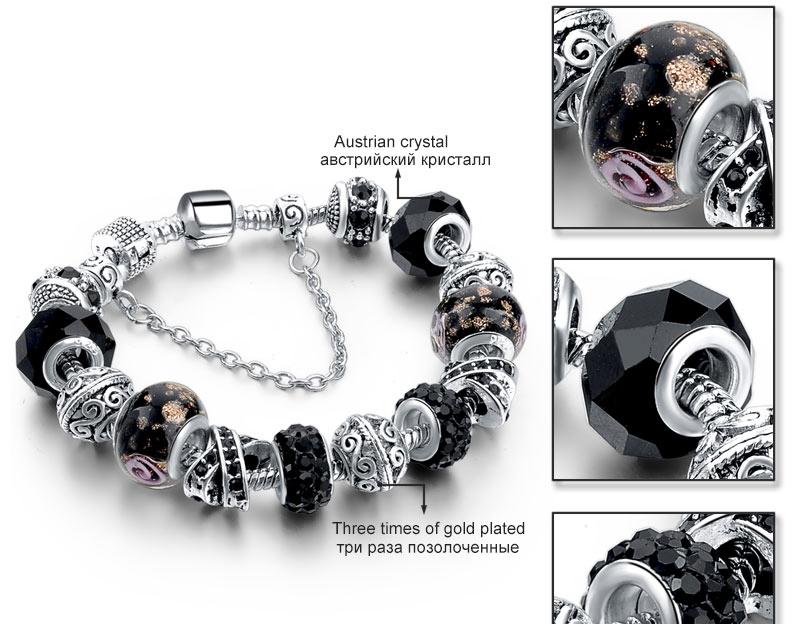 CHICVIE Black Crystal Chain Link Bracelets For Women Female Charm Custom Bracelets & Bangles DIY Silver Color Jewelry SBR160014 11