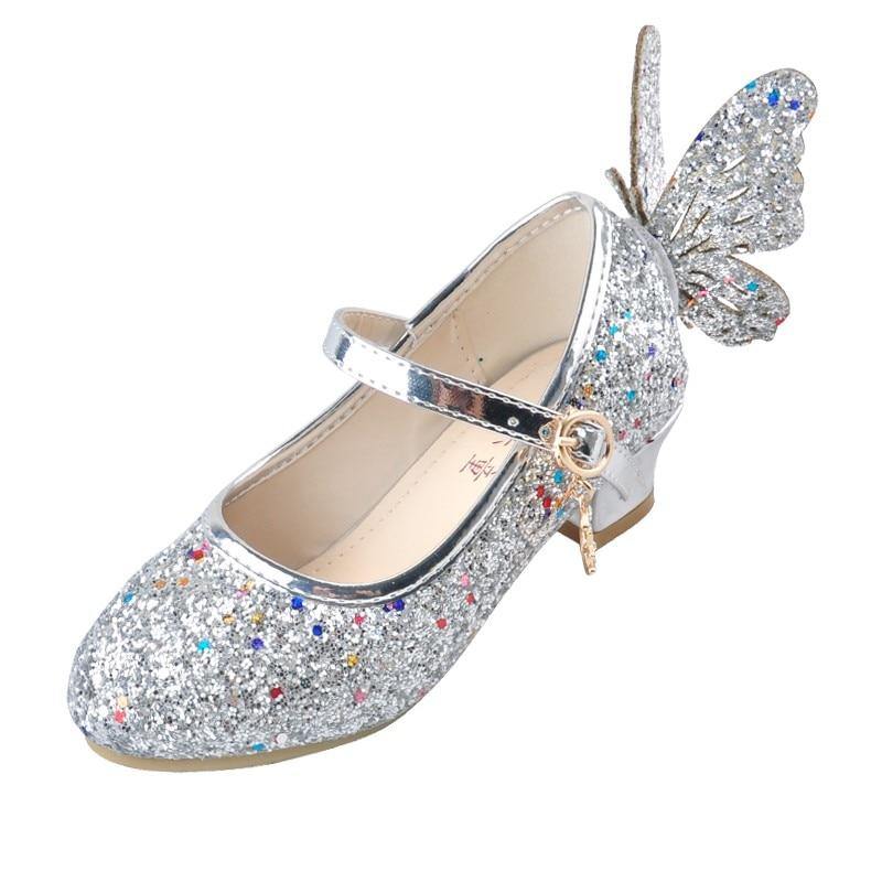 ULKNN Baby Princess Girls Shoes Sandals For Kids Glitter Butterfly Low Heel Children Shoes Girls Party Enfant Meisjes Schoenen