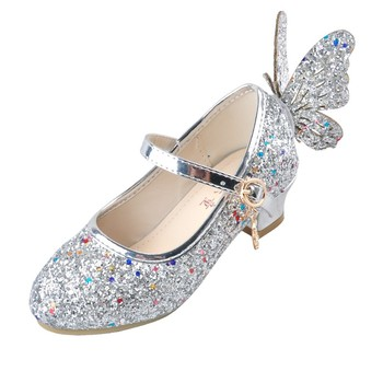 ULKNN Baby Princess Girls Shoes Sandals For Kids Glitter Butterfly Low Heel Children Party Enfant meisjes schoenen