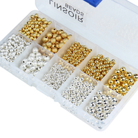 1box/lot 3/4/6/8mm Gold/Silver Mixed Round Copper Spacer Beads Ball End Seed Beads For Necklace Bracelet Jewelry Making F3462