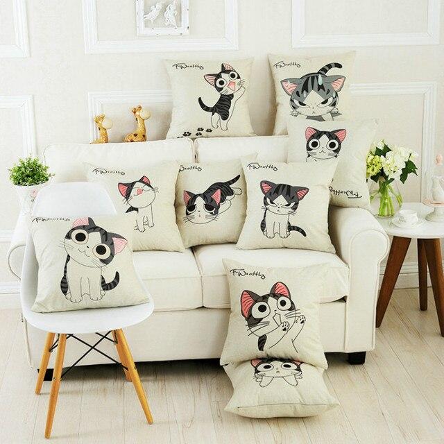 Fundas de colchón divertida gato Almohadas animal decorativo Mantas ...