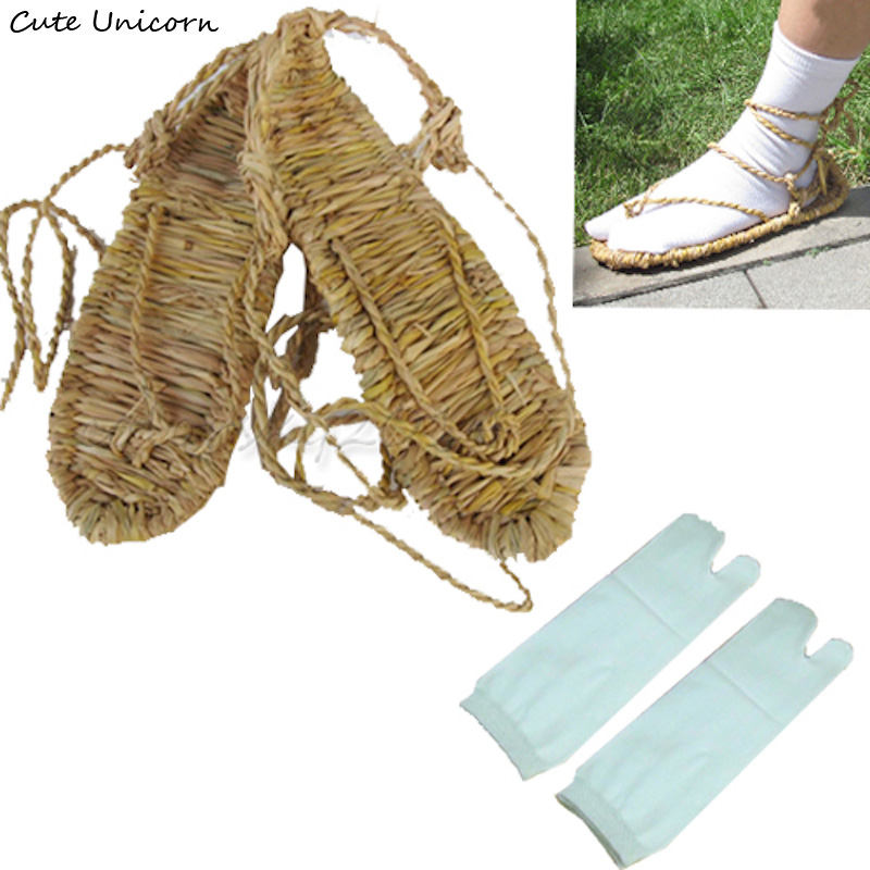 Anime Bleach Cosplay Shoes Straw Sandals Slipper + 1 Pair of 2 Toe Socks mens accessories women shoes