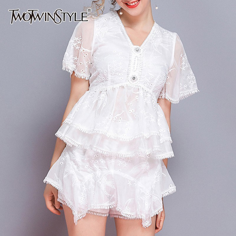 TWOTWINSTYLE Summer Embroidery Women Two Piece Set V Neck Short Sleeve Tunic Tops High Waist Loose Shorts Female Suit Fashion-in Women's Sets from Women's Clothing    1
