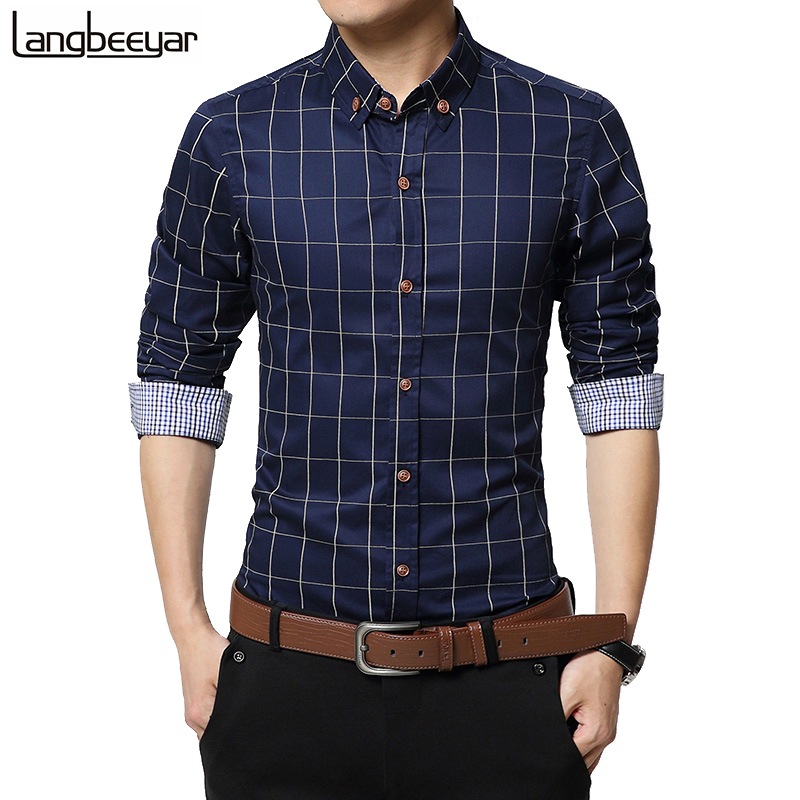 2015 New Autumn Fashion Brand Men Clothes Slim Fit Men Long Sleeve Shirt Men Plaid 100