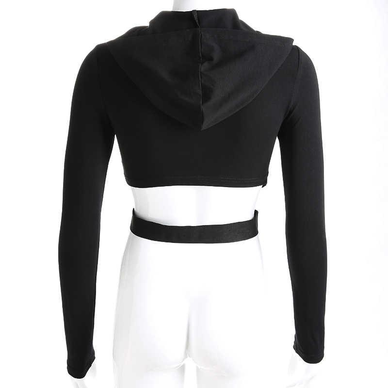 HEYounGIRL Повседневное с длинным рукавом Короткие топы, футболки толстовки выдалбливают черная футболка Для женщин хлопок высокого уличная футболка Femme; сезон осень