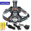 10000Lm Multifunction 4-Modes Head Lamp Bead T6+2R5 LED Headlamp Headlight Camping Light Flashlight Torch+18650 Battery+Charger