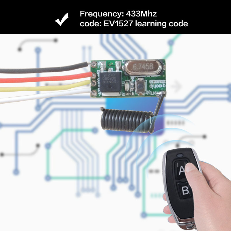 5V 2A 433MHz Wireless Remote Control 1CH Receiver Module and Transmitter RF Remote Control for LED Light Controller in Remote Controls from Consumer Electronics