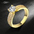 Fashion Yellow Gold Plated Bijoux Wedding Women Rings Cubic Zirconia Ring jewelry Engagement Gift DFR564