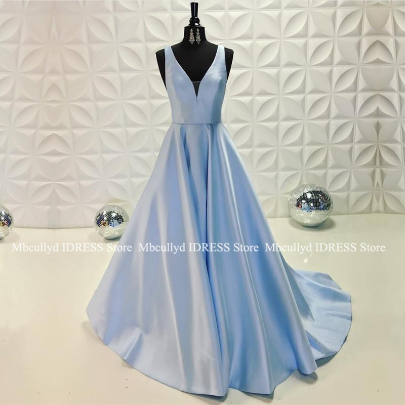 Sexy A Line V Neck Backless Satin   Prom     Dresses   2019 New Light Blue Robe de soiree Zipper Backless Floor Length   Prom   Party   Dress