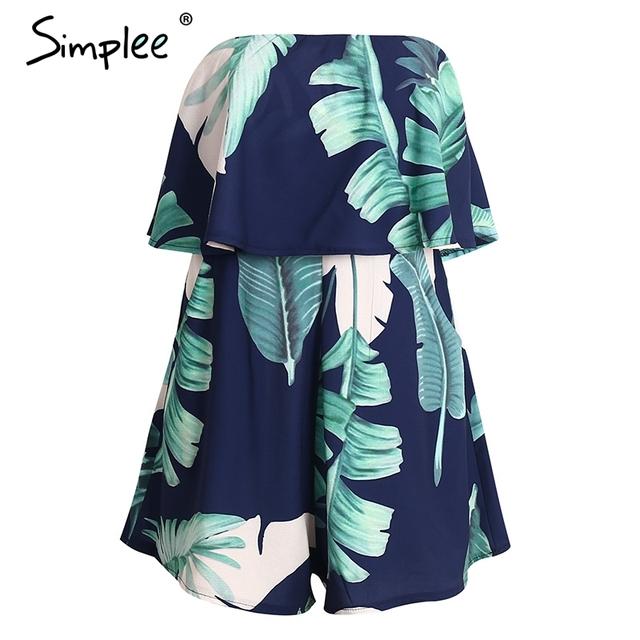Simplee Ruffles off shoulder print jumpsuit women High waist backless sleeveless flower playsuit Summer causal beach overalls
