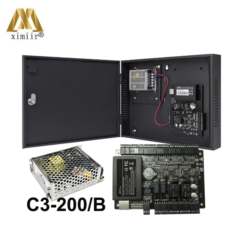 C3 200 Door Access Control System With Power Supply Box Battery Connector TCP/IP 2 Doors Panel Access Control Board
