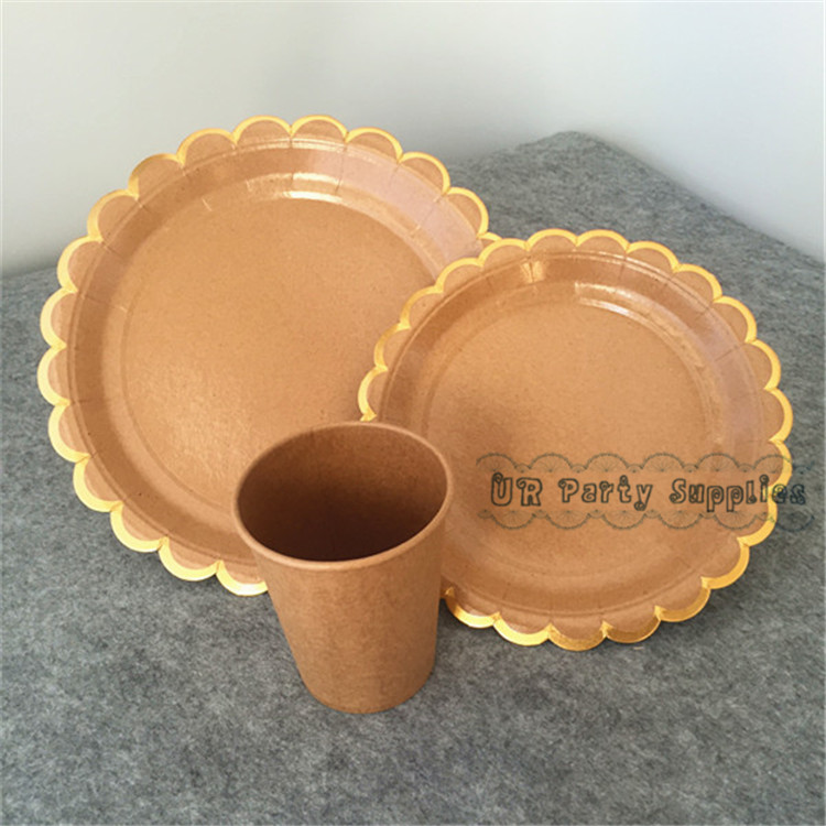 8 Sets Kraft Brown with Metallic Gold Table Setting Plates Cup Kids Birthday Wedding Decor Cake Luncheon Paper Trays Cups