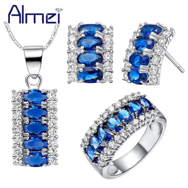 Almei Silver Color Sets Women Bridal Jewelry Ring Necklace and Earrings Fashion Pink Blue Crystal American Set Bijoux Gift T499
