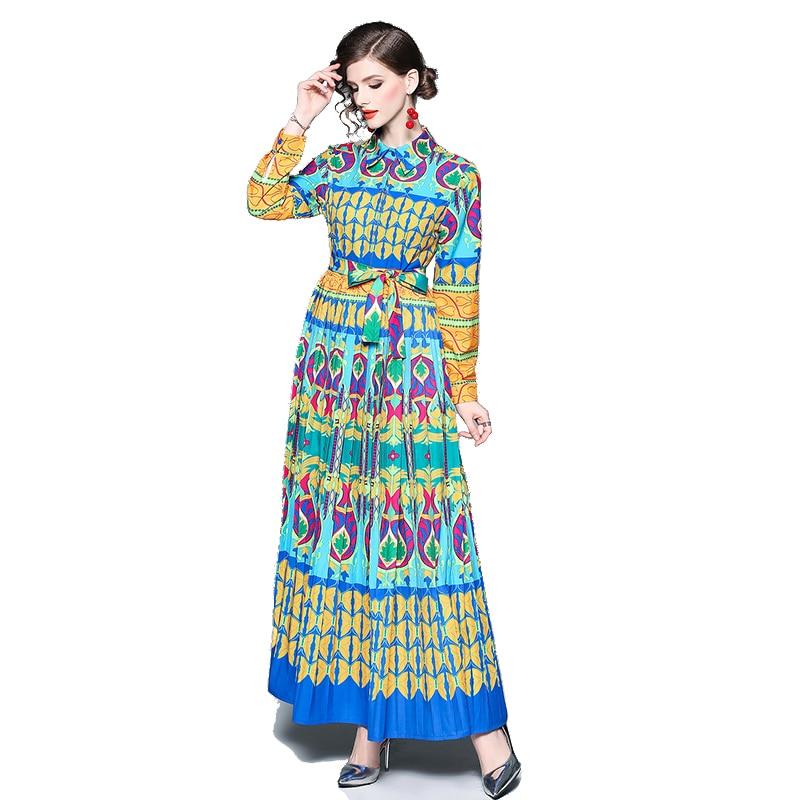 Nouveau 2019 printemps été manches plage Robe d'été Vintage Maxi robes Robe cou Floral bohème Boho Robe longue