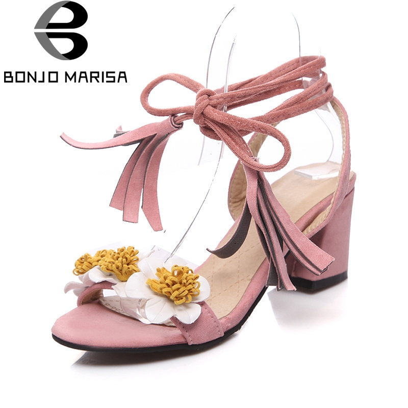 BONJOMARISA 2018 Summer Concise Sweet Sandals Women Plus Size 342-46 Flower Appliques High Heels Shoes Woman Date Footwear