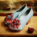 2016 women genuine leather shoes high heels women comfortable thick heel women pumps shoes leather women shoes