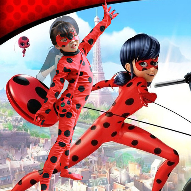 Wholesal The Miraculous Ladybug Kids  Halloween Girls Ladybug Marinette Child Lady Bug Lycra Zentai Suit