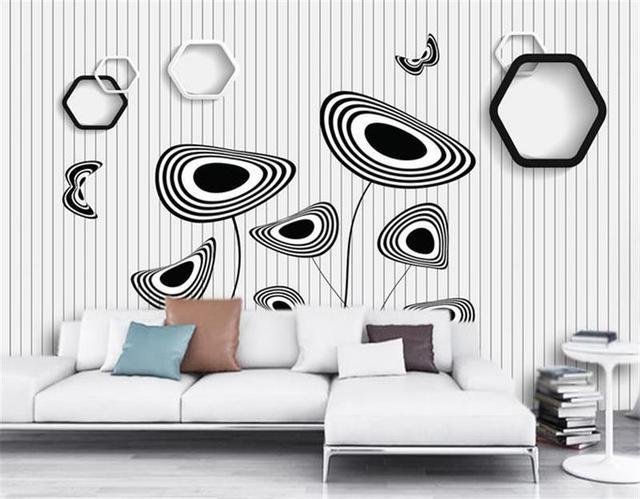 3d Papier Peint Personnalise Photo Salon Murale Non Tisse Noir Blanc
