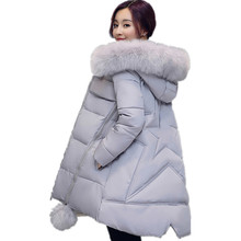 2016 Winter Girls Long  Down cotton A Coat Cloak Size Thick Jacket Coat  Women Large Fur Collar Hooded Big Pocket Solid Color