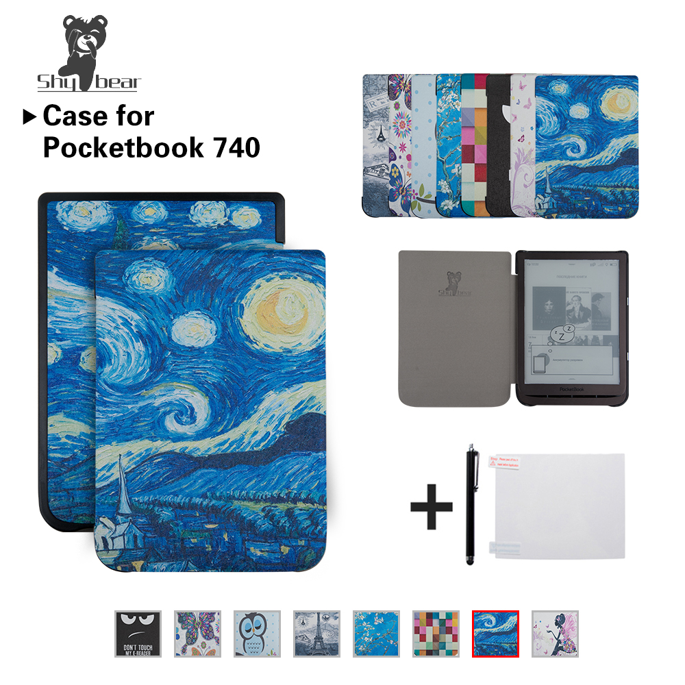 US $12 37 27% OFF|Mixed Silk printing Case for PocketBook 740 7 8 inch  InkPad 3 E Book Auto/wake Tablet Cover case + Gifts-in Tablets & e-Books  Case